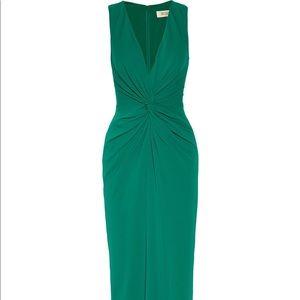 Badgley Mischka Twist-Front Stretch Crepe Gown
